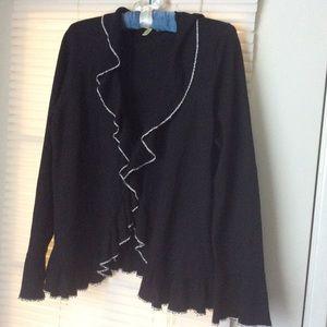 SIGRID Olsen Black Knit Ruffle Top Sz L